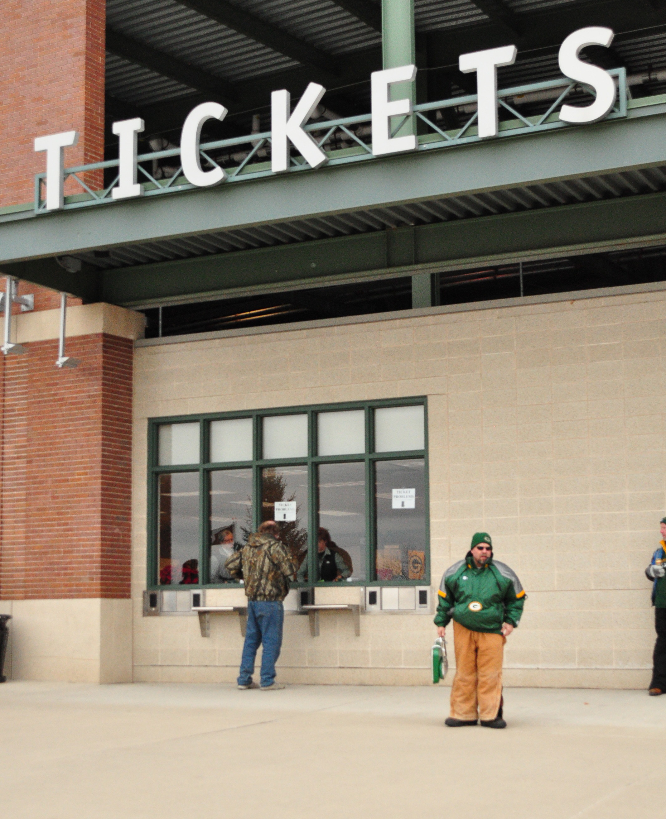 the packers ticket office is usually one of the loneliest places on game day for the