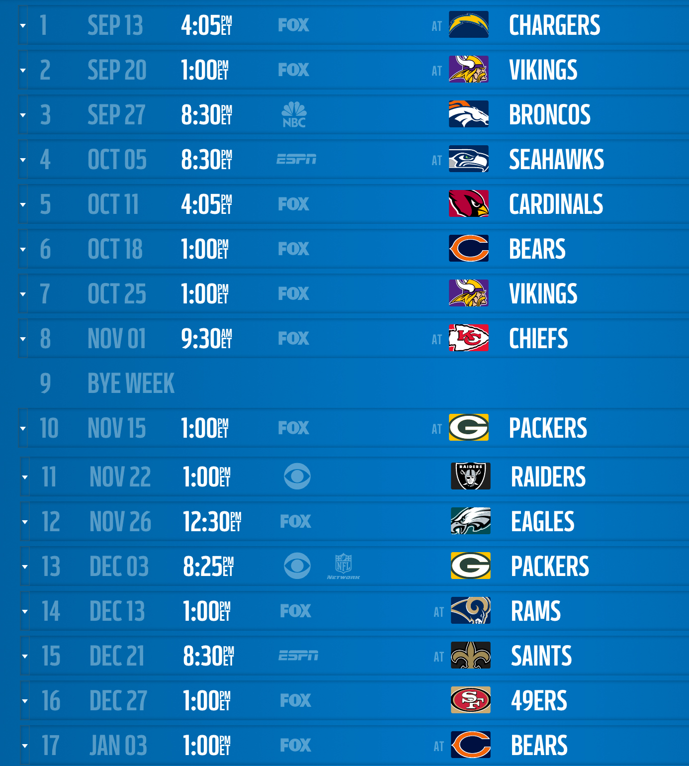 San Diego Chargers Home Schedule 2014: 2015 NFL Schedule: Analyzing The NFC North